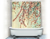 "Cherry blossoms Shower Curtain ""Take a Rest"" white, pink,aqua, bathroom, home decor, pastel flowers, floral shower curtain,nature"