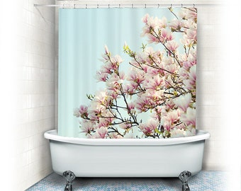 "Magnolia Fabric Shower Curtain ""Magnolias"" aqua, white, pink, bathroom, home decor, pastel flowers,nature, floral shower curtain"