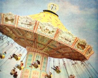 "Carnival home decor ""The swings"" fine art print, carnival, fair, ride,summer home decor,nursery,whimsical,blue,yellow"