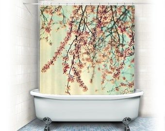 Cherry Blossoms Shower Curtain Take A Rest White Pinkaqua Bathroom