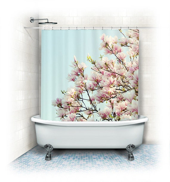 Magnolia Fabric Shower Curtain Magnolias aqua