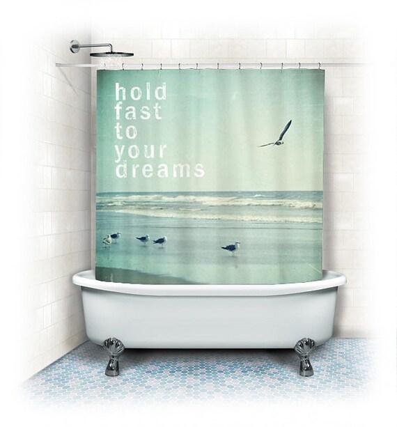 Curtains Ideas beach shower curtain : Items similar to Beach Fabric Shower Curtain