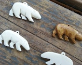 Polar Bear Carved Bone Pendant- One Piece- Stock No. DESIGN13