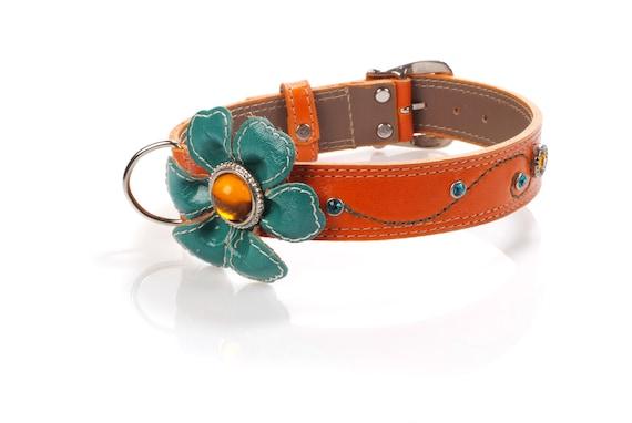 Orange Leather Dog Collar With Flower