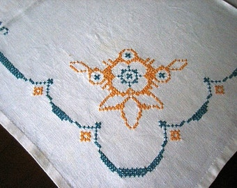 Embroidered Vintage TABLECLOTH Gorgeous LINEN Blue Yellow Nautical Ships Wheel