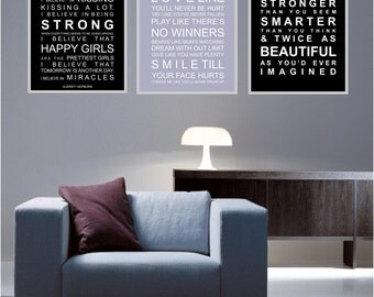 Inspirational rules set of  3 - A3 subway bus roll wall art prints