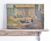 RESERVED antique french painting - nesting