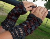 Lacy Fingerless Gloves, Wrist Warmers, Fingerless Mitts, Alpaca Wool Tencel, Rich Jewel Tones, MADE TO ORDER