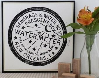 New Orleans Watermeter Cover Lino Print, Manhole Cover Print, Sewer Cover Print, New Orleans Art, Bourbon Street, NOLA Drain Cover Linocut,