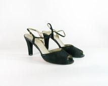 Vintage Black Suede Strappy High Heel Sandals - size 8.5