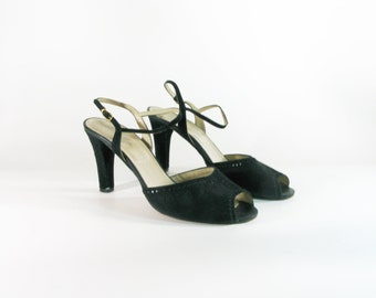 Vintage Black Suede Strappy High Heel Sandals - size 8.5