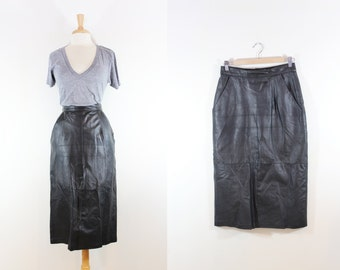 Vintage Black Leather Long Pencil Skirt