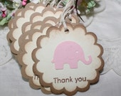Elephant Thank You Tags - Baby Shower Thank You - Birthday - Baby Girl - Christening - Pink - Vintage