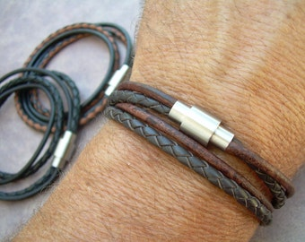 Men's Leather Bracelet,Stainless Steel Magnetic Clasp,Double Wrap, Men's Bracelet, Men's Jewelry, Leather Bracelet, Fathers Day, Men's Gift