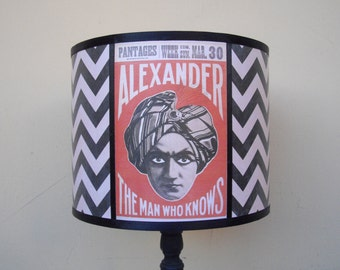 Psychic Reading chevron circus lamp shade lampshade - unique lighting, boho, bohemian decor, circus decor, gift for him, fortune teller