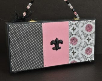 French themed purse, black cigar box purse, pink, roses, polka dots, Paris chic, teen handbag, fleur de lis