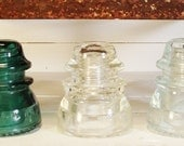 Instant Collection 3 Vintage Aqua and Clear Glass Insulators