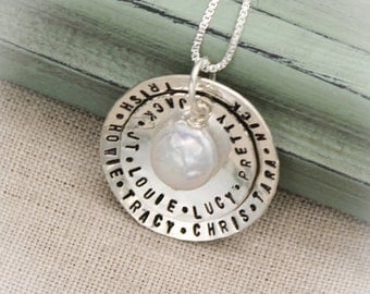 Mother or Grandmother Necklace Personalized Two (2) Layers Sterling Silver with White Coin Pearl Charm Hand Stamped Jewelry