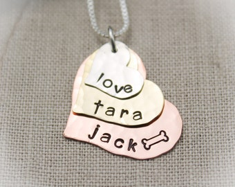 Layered Heart Necklace Three (3) Layers Silver, Brass, Copper for Mothers & Grandmothers Hand Stamped Jewelry