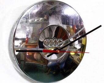 Audi Clock made with retro 1973 - 1979 Audi Fox Center Cap - 80 - 1974 1975 1976 1977 1978 - Car Wall Clock - Office Clock