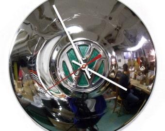 1960's VW Wall Clock - 1970's Volkswagen Bug Hubcap Clock - Volkswagon Chrome Clock with Green Center