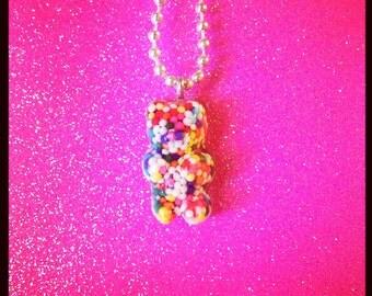 Rainbow Sprinkle Gummy Bear Necklace