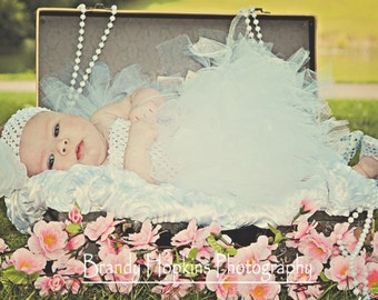 Christening Baptism Complete  Outfit - 10 inch Tutu Dress and Silver Sparkle Slippers Set  With Matching Headband by Cuddlehugs