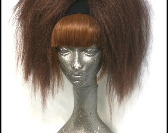 Brown synthetic hair falls - Big and crimped style