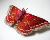 Fabric sculpture -Large cross's wave moth textile art