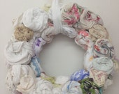 Hankie Babies --  Margo style decorative wreath vintage hankie and doily rosettes hand sewn