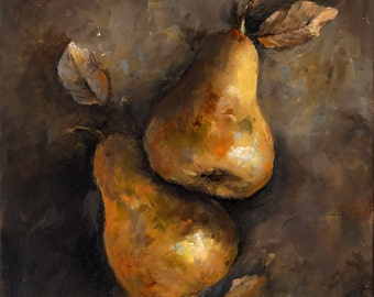 Two Golden Pears - Paper Print of an Original Painting by Cari Humphry