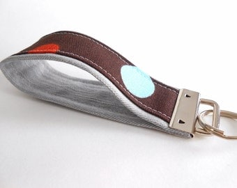 Gray Brown Polka Dot Key Fob Wristlet 5 Inch