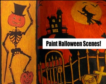 How to Create Vintage-looking Halloween Scenes (PDF Tutorial) - includes DIY Painting & Transfer Techniques with printable Elements