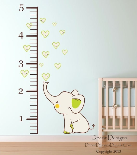 growth chart wall decal baby elephant nursery vinyl wall