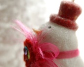 Snowman Photograph, Pink Snowman Ornament Photo, Christmas Photography, Winter Photo, Digital Download, Printable Art, DYI Notecard Art
