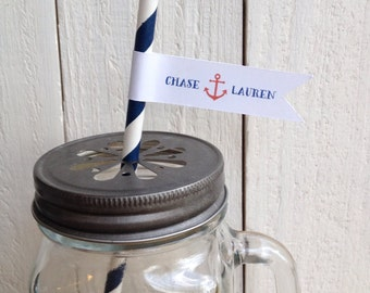 Nautical Love Anchor Custom Paper Straws Wedding Shower Party Personalized Flags
