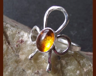 Amber and Sterling Silver Ring - handmade