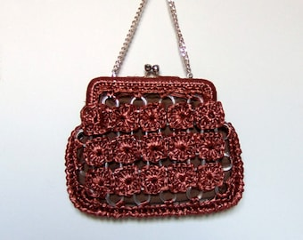 Vintage Raffia Purse Auburn Clutch 70s Woven Bag Small Summer Purse Kisslock Closure