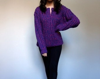 Oversized Sweater 80s  Chunky Knit Jumper Slouchy Winter Sweater Hot Pink Electric Blue - Small Medium Large S/ M/ L