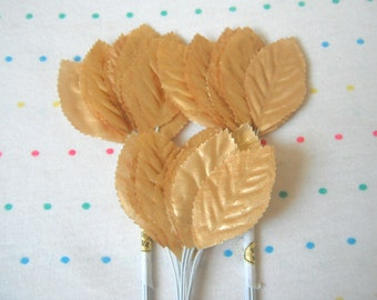 "Gold Lame Fabric Millinery Leaves, 2"" Long (36)"