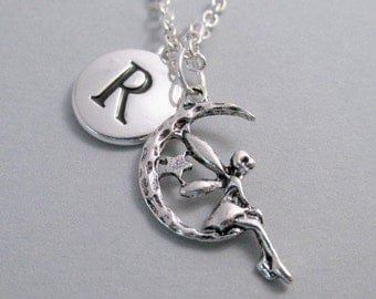Fairy on Moon Charm Necklace, Fairy Keychain, Silver Plated Charm, Initial Charm, Engraved Initial, Personalized, Monogram
