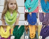KIDS Infinity Ruffle Scarf - Lightweight Infinity Scarf - Yellow - Green - Blue - Purple