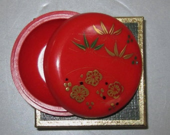 Vintage Pill Box in Red with Wild Flowers by Sarsaparilla ~ Style # 7 Red