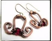 059 Deep Red/Pink Swarovski Antique Copper Wire Wrapped Dangle Earrings Hypoallergenic