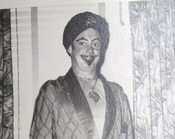 Howard Trying To Make An Impression On His First Date............Vintage Photos.....Man In A Turban And Bathrobe