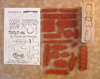 Reduced! Retro Designs - 20 Great Wood-Mount & UM Rubber Stamps - Cards - Collage - ATC - Domino Art - Scrapbooks - FREE Shipping
