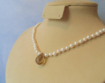 White freshwater pearls, large quartz briolette, hand knotted, silk cord necklace.47 cm / 18'' in.
