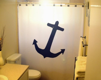 Anchor shower curtain nautical bathroom decor