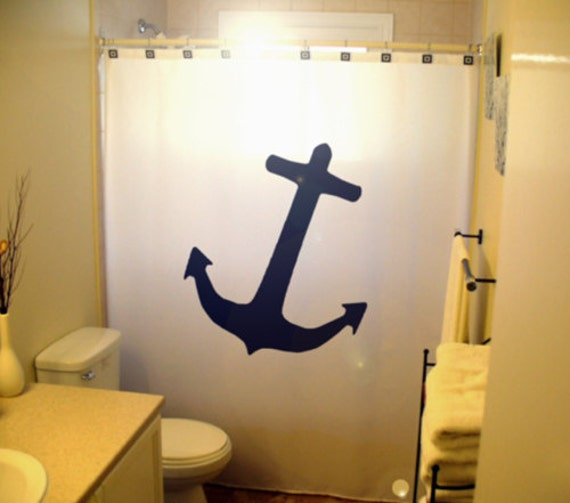 Boat Bathroom Signs: Anchor Shower Curtain Nautical Bathroom Decor Extra Long