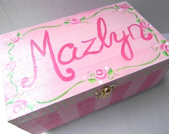 Hand Painted Jewelry Boxes-painted wooden box-rose box-personalized wooden box-jewelry storage